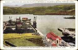 Postcard Balboa Panama, Planta Carbonera del Lado del Pacifico y Entrada al Dique Seco