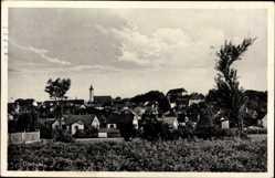 Postcard Dachau, Stadtansicht, Kirchturm, Wiese, Häuser, Bäume, Wolken