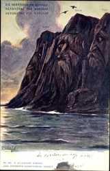 Künstler Ak Hals, F., Norwegen,Herrscher am Nordkap,Killinger 168,Berggesichter