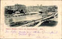 Ak Wien 1. Innere Stadt, Rossauer Kaserne, Augarten Brücke, Rudolfskaserne