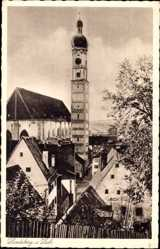 Postcard Landsberg am Lech in Oberbayern, Blick in den Ort mit Kirche