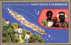 Landkarten Ak Neukaledonien, Colonies Francaises, Récifs, Iles des Pins