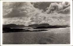 Postcard Norwegen, In den Schären, Panorama, Gebirgslandschaft am Wasser