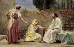 Leinweber, Jesus bei Maria und Martha